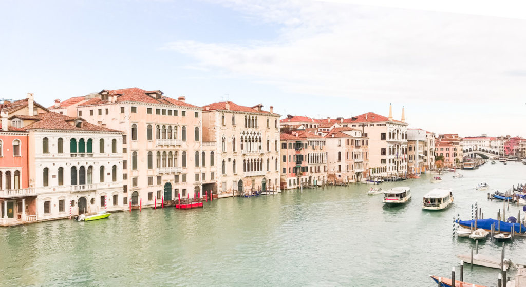 Grand Canal in Venice Italy with Rialto Bridge in background