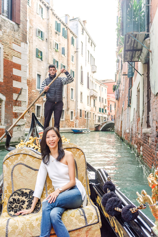 Gondola ride along the Grand Canal in Venice, Italy