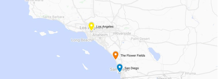 Map of The Flower Fields of Carlsbad in Southern California