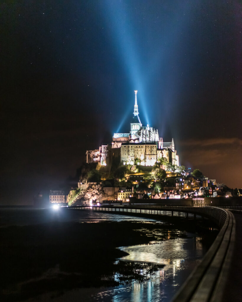Night view of Mont Saint Michel Abbey in Normandy, France - Travel and Photography Tips