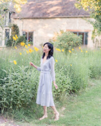 Admiring the sunflowers at La Dime de Giverny hotel