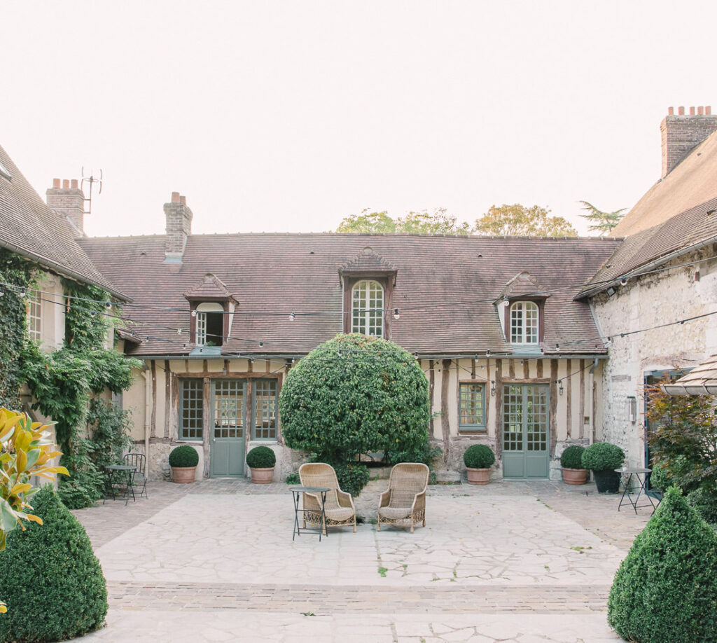 Courtyard of La Dime de Giverny hotel in Monet's hometown