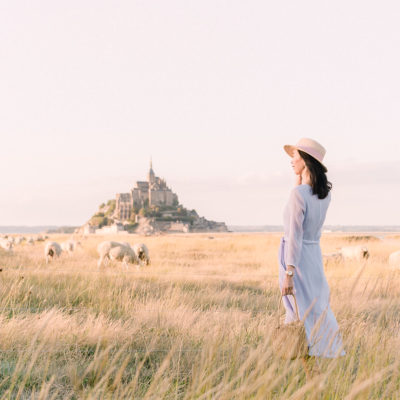 Mont St Michel in Normandy France with Grazing Sheep