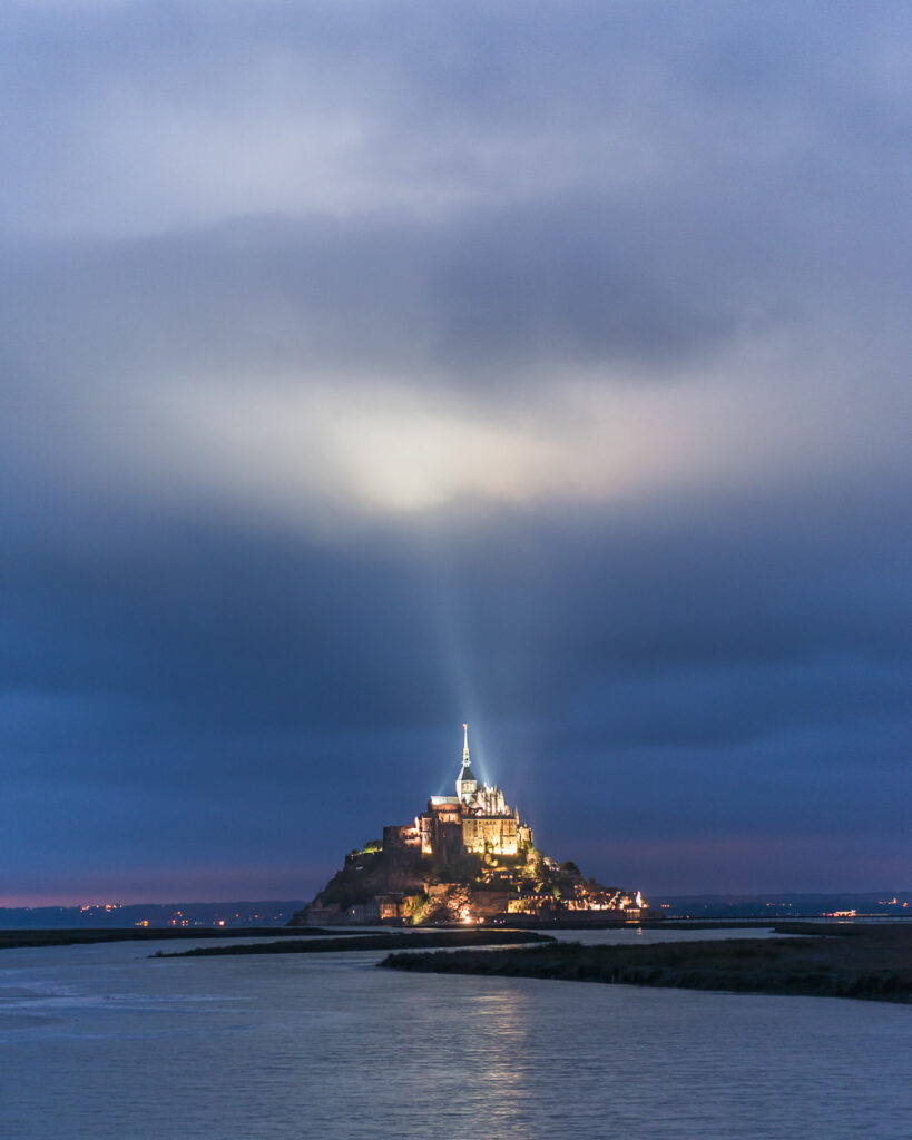 Spotlight From Mont St Michel in the Evening