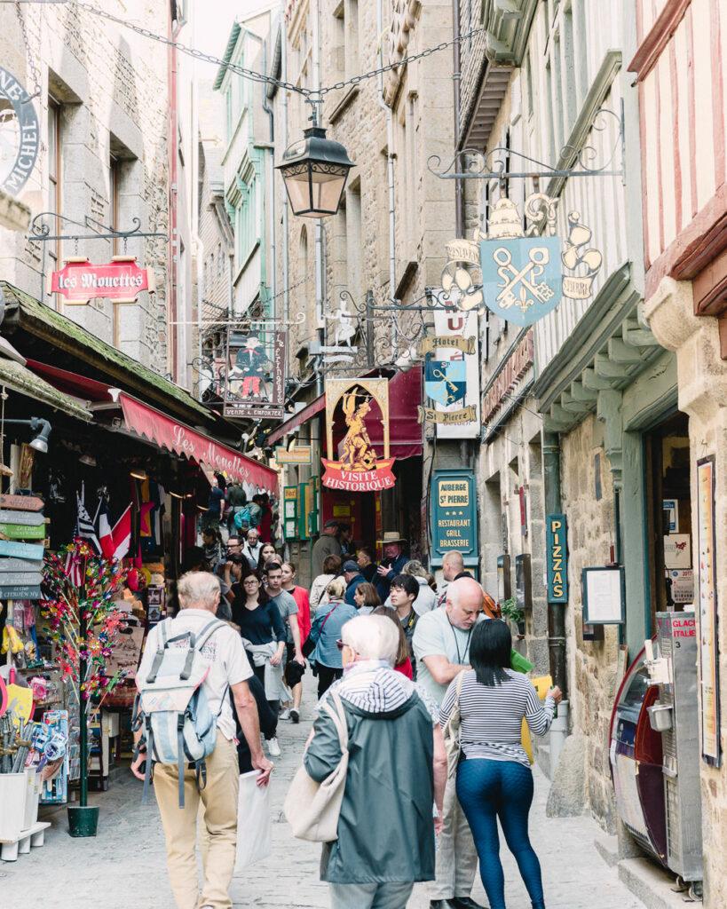 Busy Mont St Michel Village Street