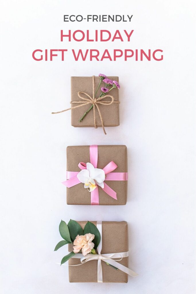 Holiday gift boxes with kraft paper, reusable ribbons and flowers