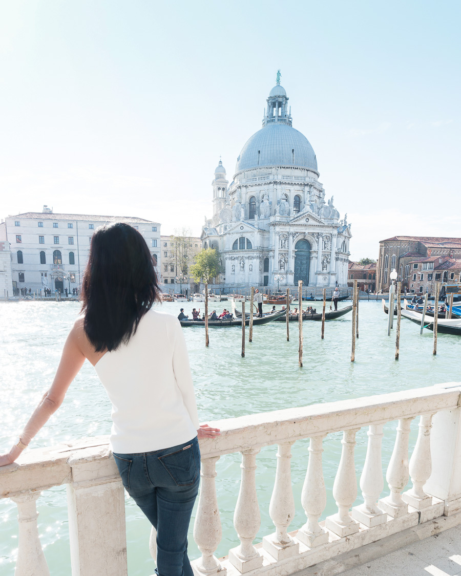 View of gondolas on Grand Canal in Venice
