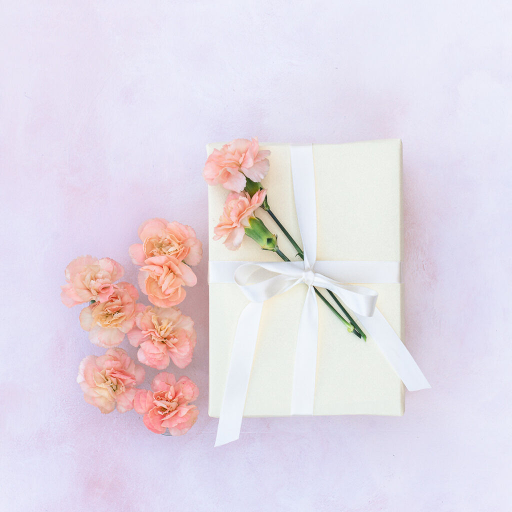 Gift wrapped with flower