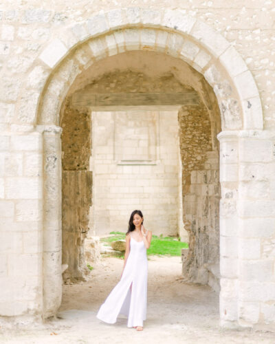 Arched entryway at the Jumieges Abbey in Normandy France
