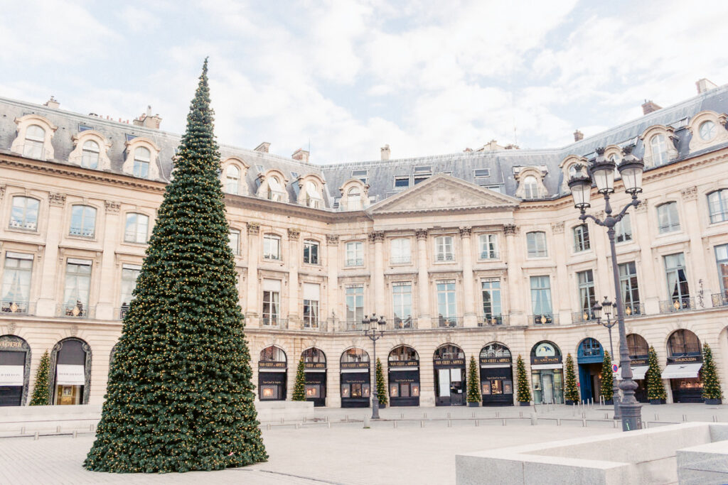 Christmas tree at Place Vendome - The Best Things About Christmas in Paris France