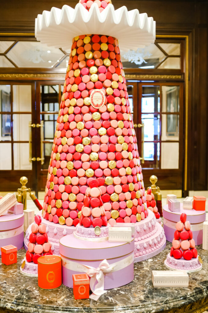 Christmas tree made with Laduree macarons - The Best Things About Christmas in Paris