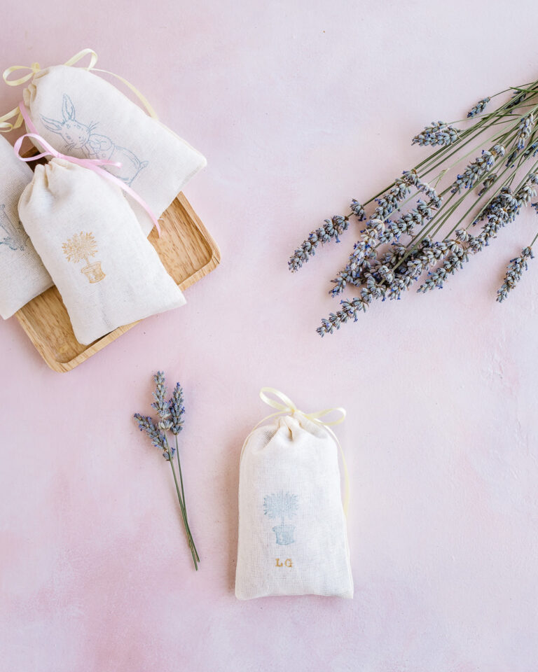 Lavender sachets with dried lavender buds