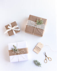 Eco Friendly sustainable gift wrapping with kraft paper and twine