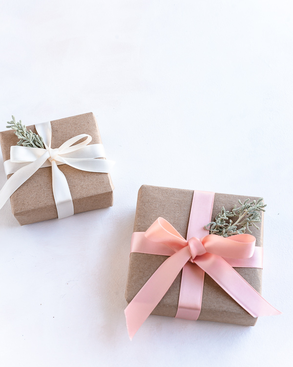 Eco Friendly sustainable and pretty gift wrapping with ribbon and leaf