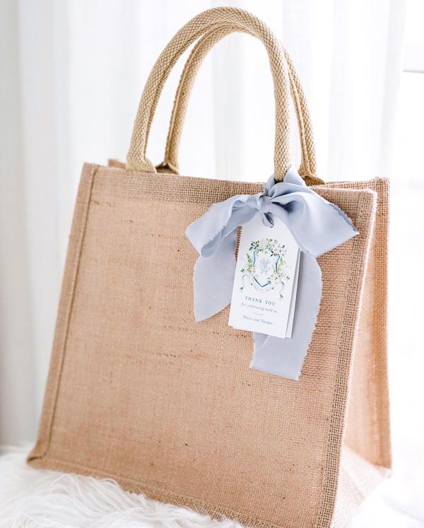 Eco friendly Christmas gift wrapping with reusable jute burlap bag