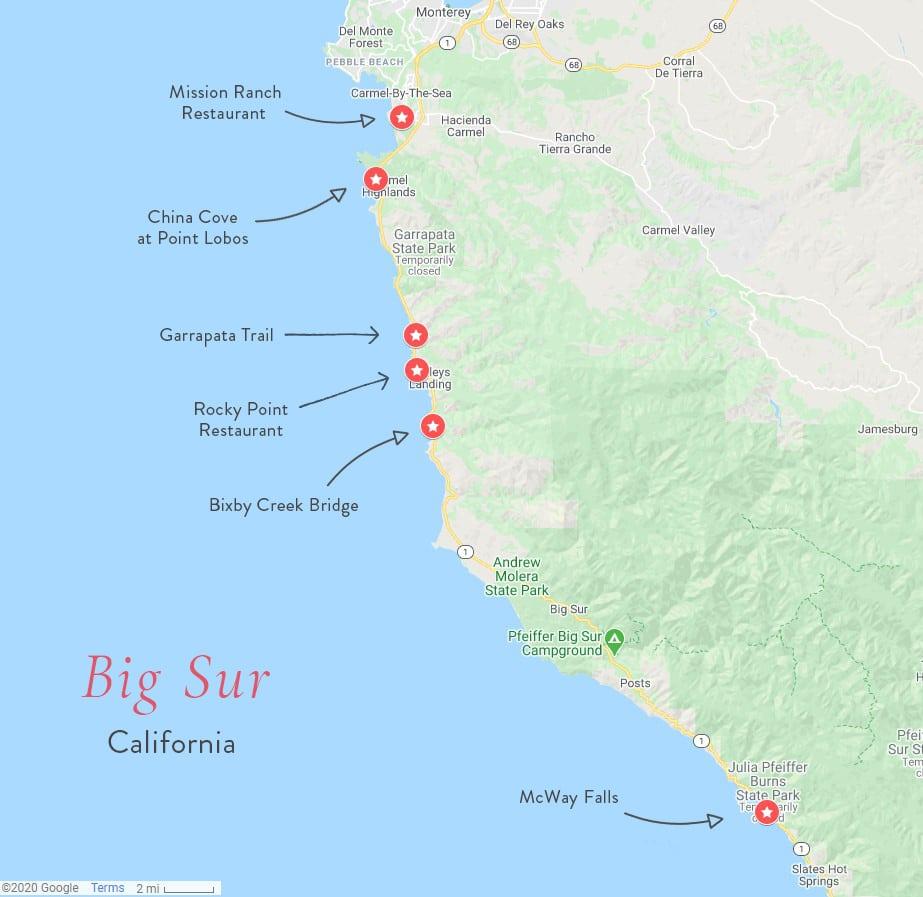 Map of Best Spots in Big Sur California