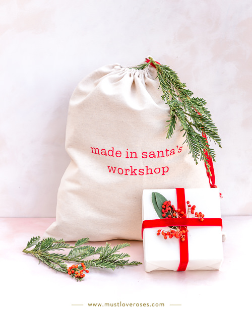 Christmas gifts wrapped with canvas bag